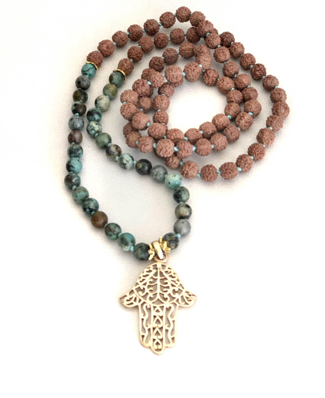 African Turquoise and Gold Plated Hamsa Charm Mala