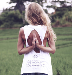 Karma Collective TRUST THE UNIVERSE OPEN BACK MUSCLE TANK- WHITE