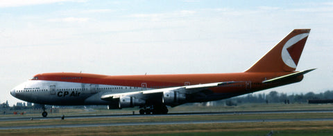 """CPAir's B.747-200 C-FCRA """"Empress of Italy"""" is seen at Vancouver in September 1986"""