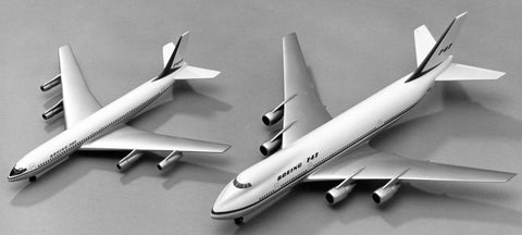 Models of the Boeing 707-320B Intercontinental and the new Boeing 747 in 1/100th scale