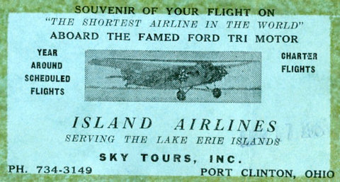 My souvenier Island Airlines ticket