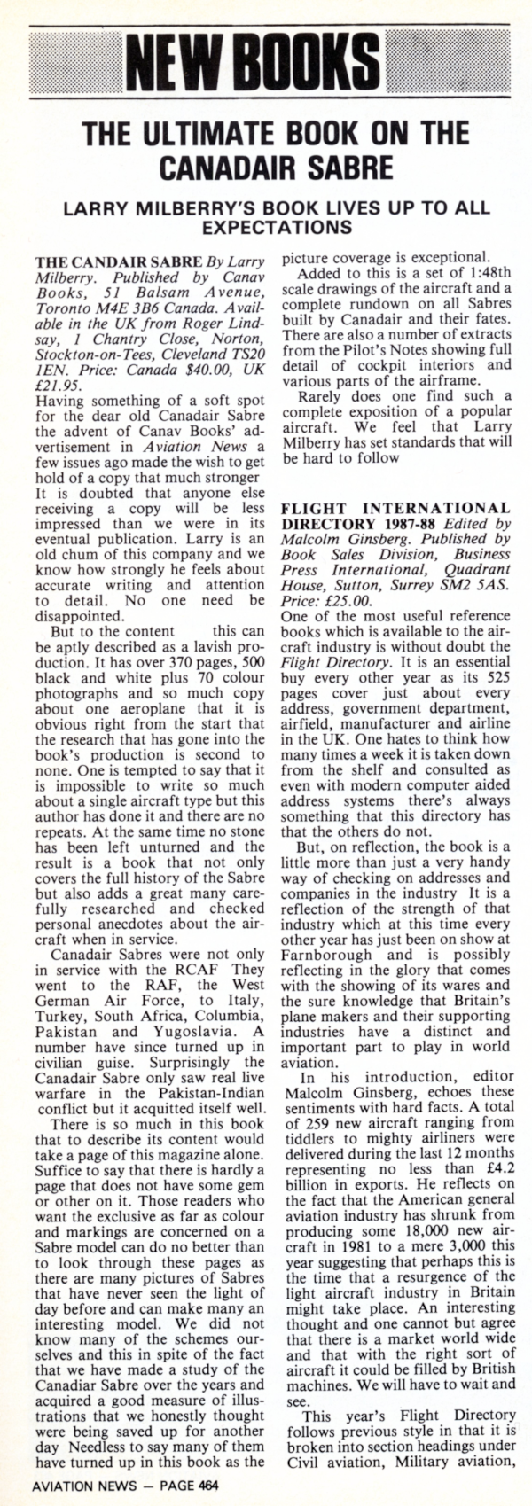 Review of The Canadair Sabre in Aviation News Magazine, 1986