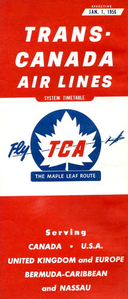 TCA System Timetable for January 1, 1956