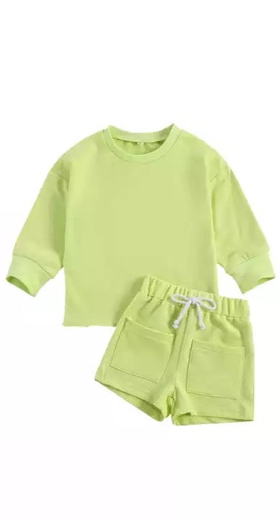 Comfy Sweater Set - Lime