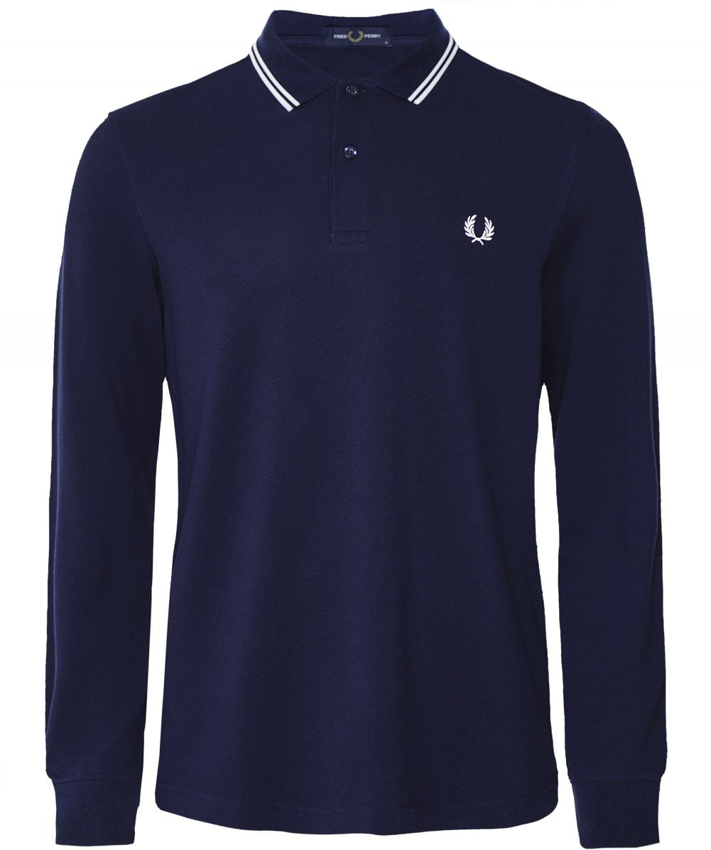 Fred Perry Twin Tipped Polo Sweatshirt (Navy Blue)