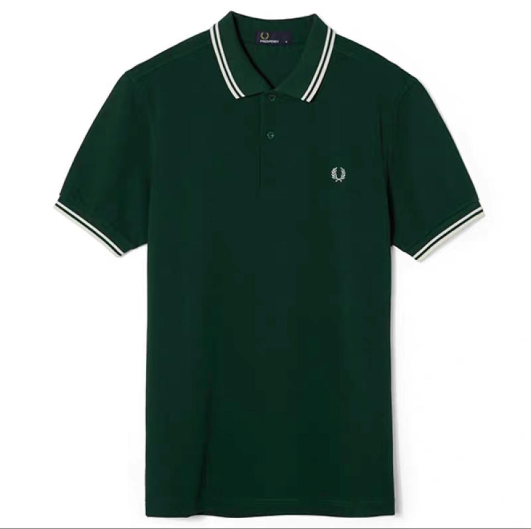 Fred Perry Green Double Stripe Polo Black Shirt