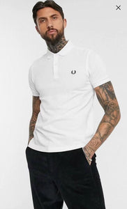 Fred Perry Textured Knit Polo T-shirt -  White