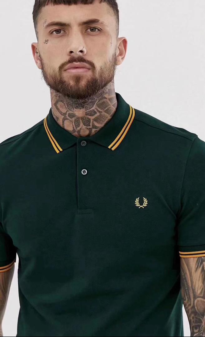 Fred Perry Gold Double Stripe Green Polo Shirt