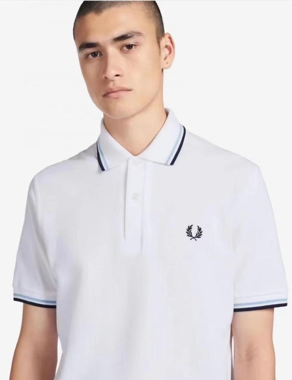 Fred Perry White Double Black and Blue Stripe Polo Shirt