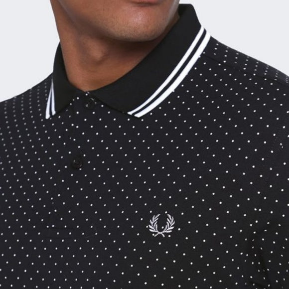 Fred Perry Printed Polka Dot Polo Black T-shirt