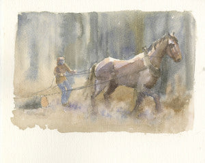 horse logging in the woods