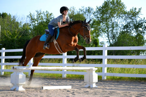 Young woman and horse jump over a riser