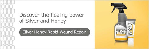Graphic of Silver Honey Rapid Wound Repair natural first aid spray and ointment