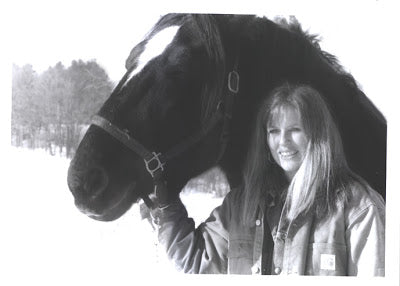 Jamie Young, great granddaughter of Absorbine Inventors with Goth, her rescued Percheron gelding Absorbine Blog