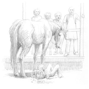 horse tied up at a store sketch