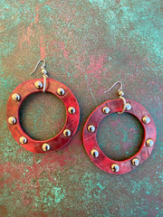 STUDDED FAUX LEATHER HOOPS