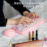 PERIDUO-713PK-ワイヤレス ピンク ミニ キーボード・マウスセット