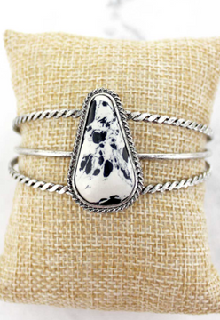 Chic Bling Cowhide Marbled Silver Tone Cuff Bracelet