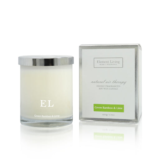 Green Bamboo & Lime Scented Soy Candle 250g