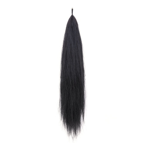 Y.J Tails Jet Black natural loop false tail double thickness 70-76cm aB1
