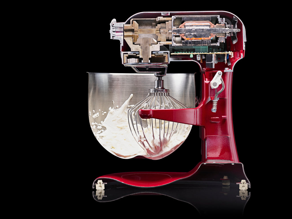 Cutaway photograph of Kitchenaid mixer