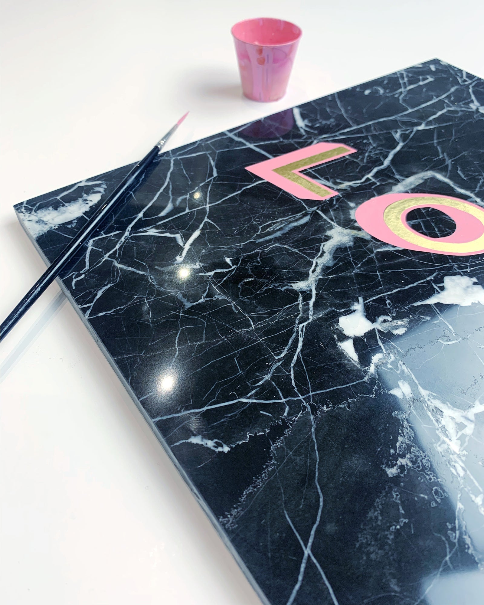Love painted lettering on Marble - Daisy Emerson