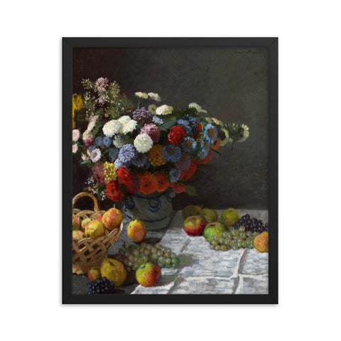 Gerahmter Kunstdruck 'Still Life with Flowers and Fruit' Claude Monet
