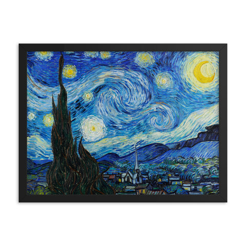 Gerahmter Kunstdruck 'Starry Night' Vincent van Gogh