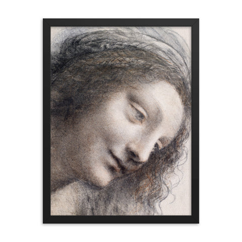 Gerahmter Kunstdruck 'The Head of the Virgin' Leonardo Da Vinci