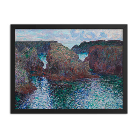 Gerahmter Kunstdruck 'Rocks at Port-Goulphar, Belle-Île' Claude Monet