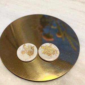 Glossy White and Gold Statement Studs