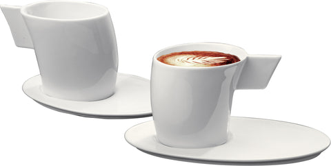 Deagourmet 143, Wind a Set of 2 Cups and 2 Saucers in Porcelain White