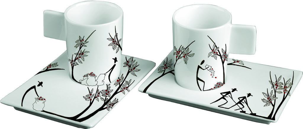 ORIGINI STESURA set 2 espresso cups and 2 saucers by Deagourmet