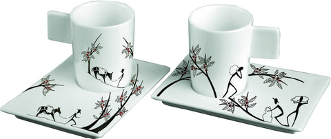 ORIGINI TRASPORTO set 2 espresso cups and 2 saucers by Deagourmet