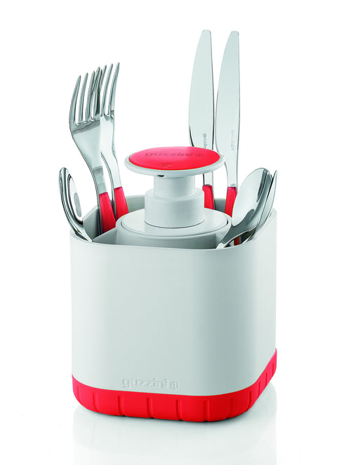 Guzzini Cutlery Drainer with removable soap dispenser, Red