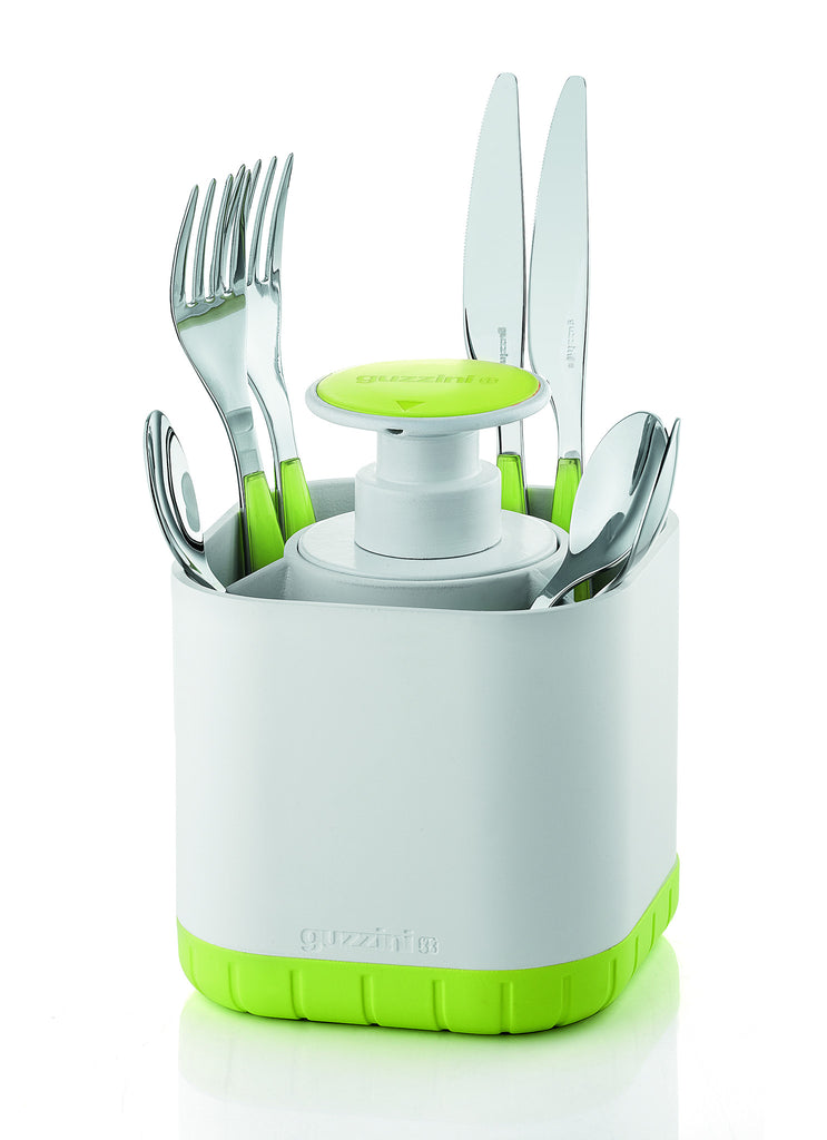 Guzzini Cutlery Drainer with removable soap dispenser, Green