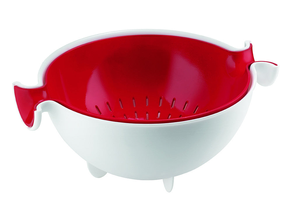 Guzzini My Kitchen - Spin&Drain - Red Bowl & Colander
