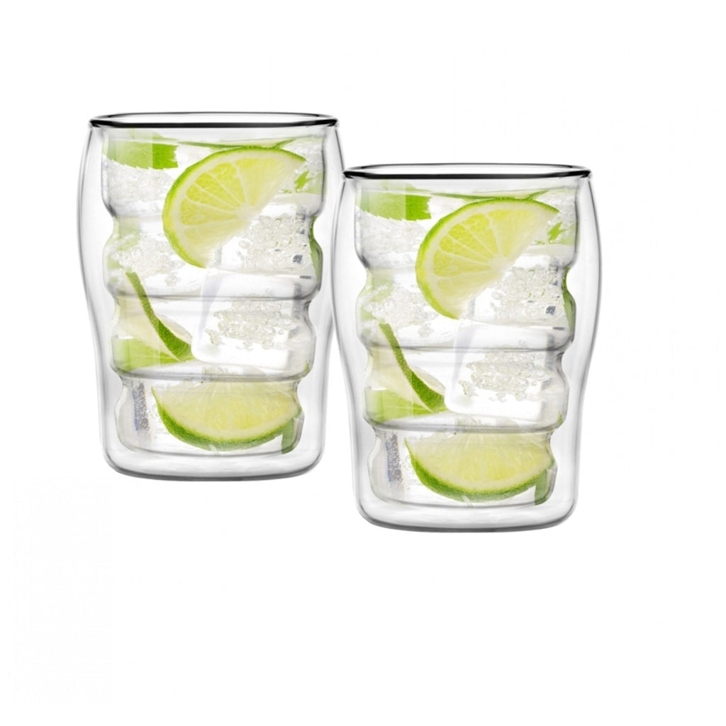 Vialli Design Bolla Double Walled Cocktail Drink Glasses Set of 2, 300ml