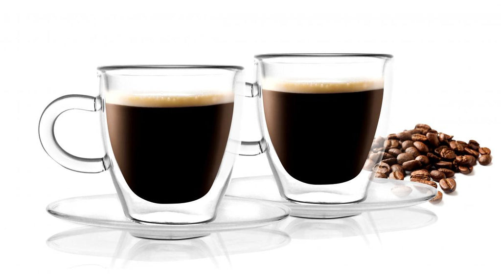 Vialli Design 2 pcs espresso cup with saucer double wall glass 50 ml