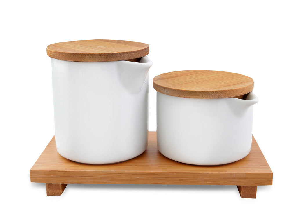 Vialli Design Cream and sugar set with bamboo tray