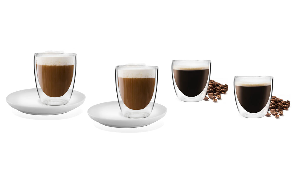 Vialli Design AMO Coffee SET Double Walled Glass Heat-resistance Espresso and Cappuccino Coffee Cups with Saucers - Set of 6