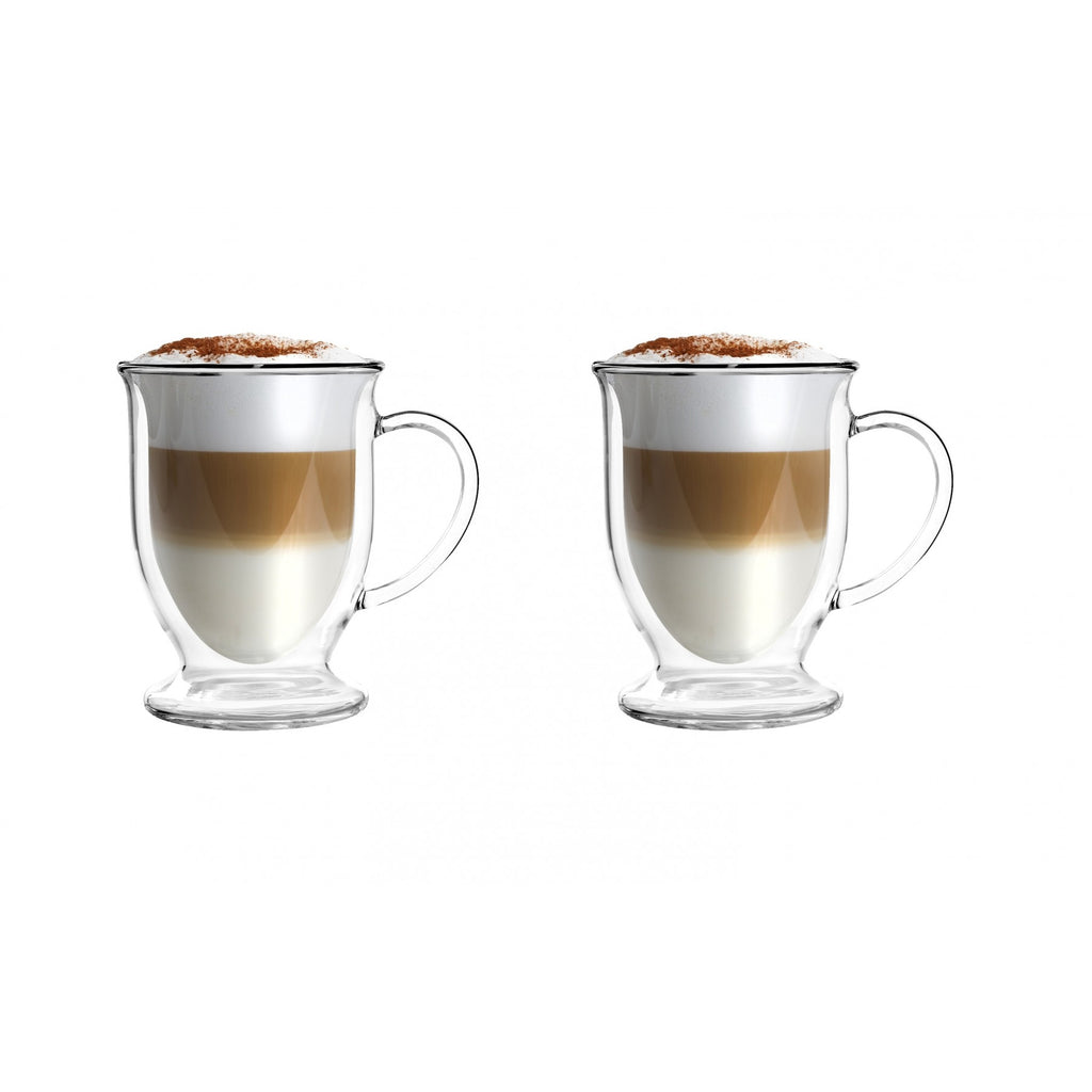 Vialli Design Amo double walled coffee latte glasses 250ml x 2