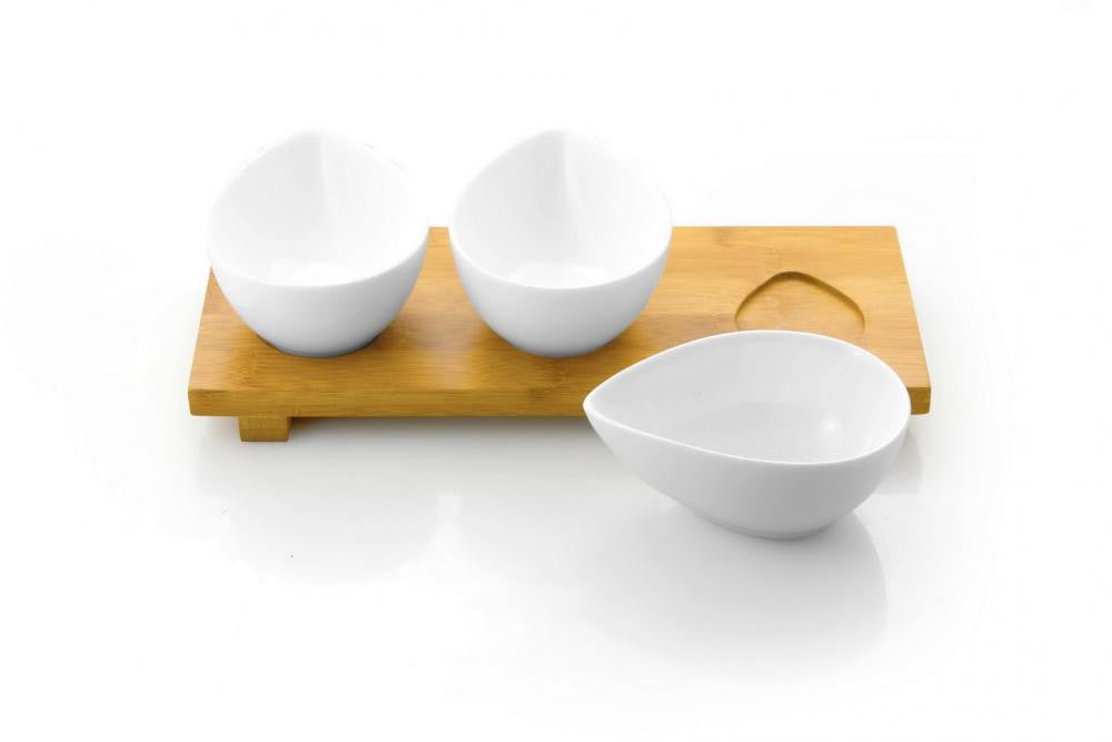 Vialli Design VILAGIO Set of 3 Teardrop Serving Dishes With Bamboo Stand