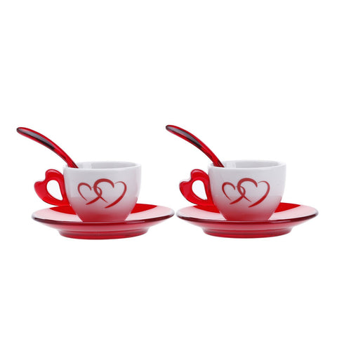 Guzzini Love 2 Espresso Cups with Saucer and Spoon