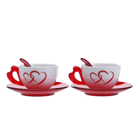 Guzzini Love Cappuccino Cups with Saucer and Spoon Set of 2