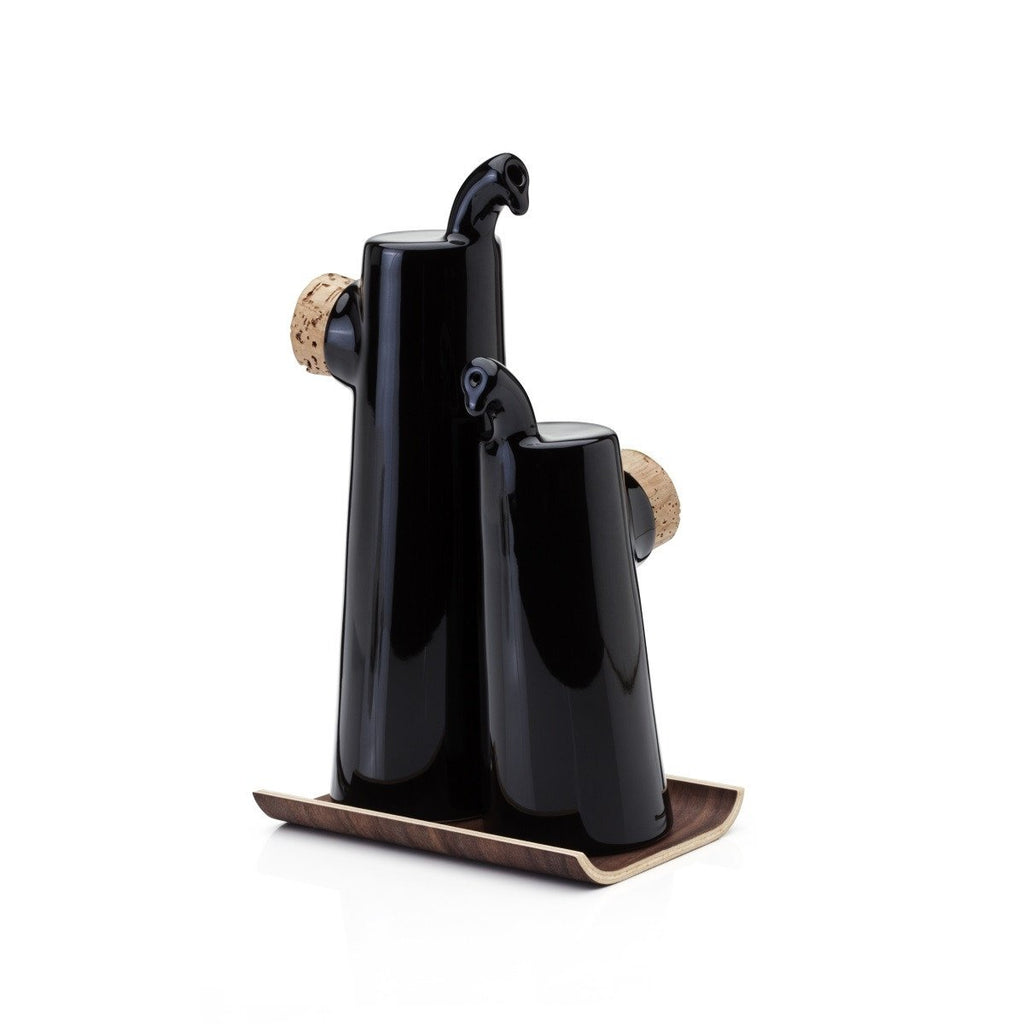 NOKKA Oil and Vinegar set with non-drip spouts cork stopper and laminated walnut tray