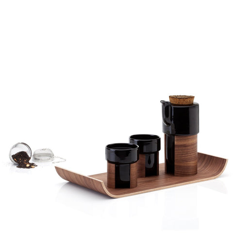 Tonfisk Design WARM Tea Set including 2 cups, Teapot with Stainless steel strainer and walnut tray