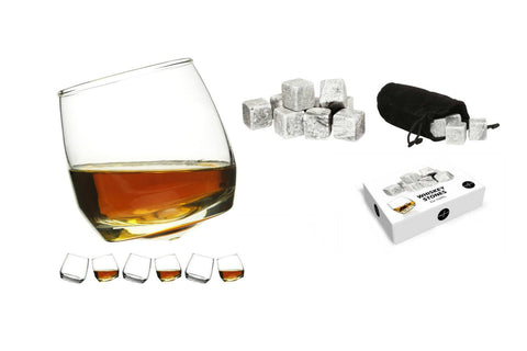 Sagaform Rocking Whiskey Glasses (Pack of 6) + Whiskey Stones