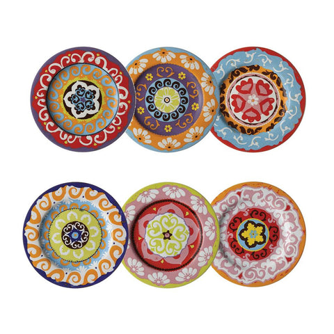 Nador Set of 6 Rim 16cm Plates Mixed Colours Mediterranean Style !