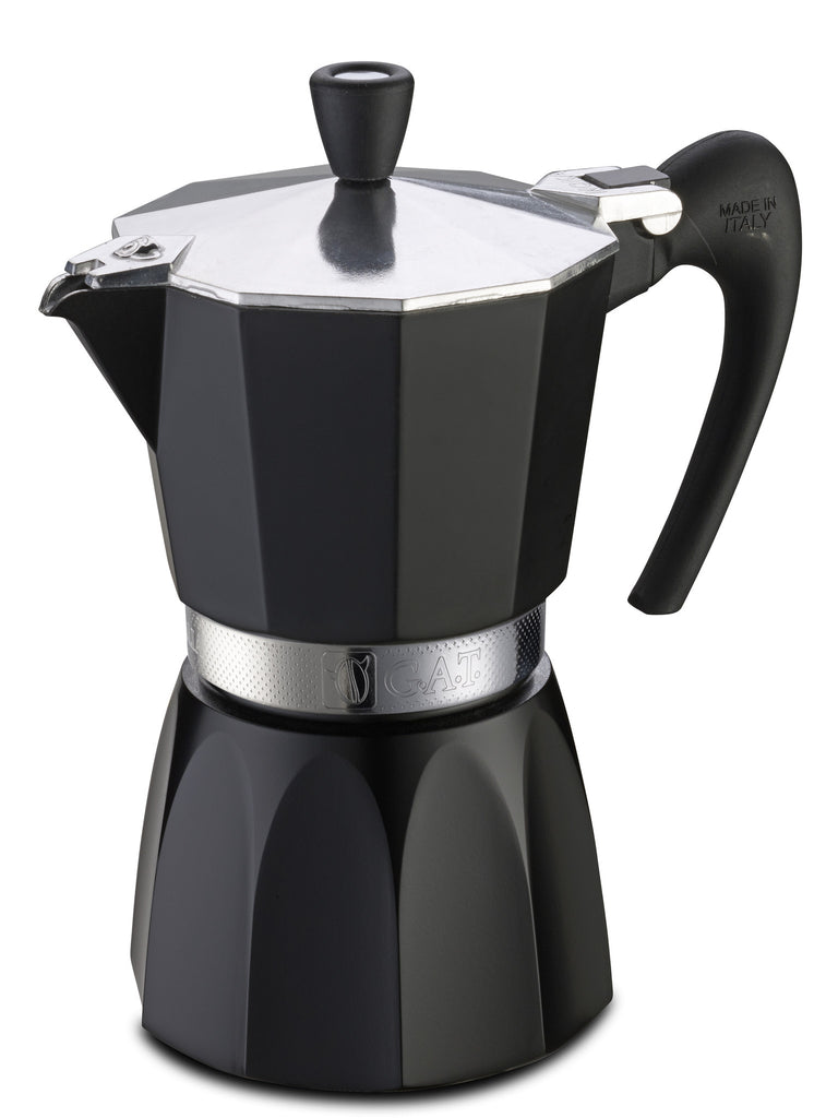 GAT Fashion Aluminium Stove Top Italian Espresso Coffee Maker Pot in Black